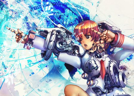 RoboGirl Warrior - girl, anime, new, sci fi, beauty, wall