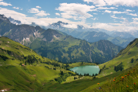 Majestic Mountain Landscape - teal, lake, green grass, beautiful mountains, white clouds