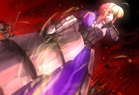 King of Knight - saber, war, servant saber, blood, armor, fate stay night, girl, anime, invisible air, anime girl, knight