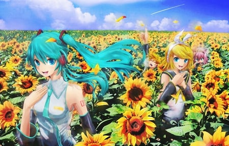 Sunflower Patch - cg, nice, gold, aqua, flowers, anime girl, kagamine len, art, twintail, singer, aqua eyes, headset, hatsune, digital, patch, white, idol, artistic, hatsune miku, tie, headphones, beautiful, program, green, kagamine, smoke, blue, kagamine rin, thumbs up, music, boy, song, uniform, virtual, pretty, yellow, clouds, megurine, anime, beauty, vocaloids, black, miku, skirt, blonde, sunflower, sky, happy, cute, cool, awesome, walking, len, luka, bow, megurine luka, anime boy, twin tail, sunflowers, pink, vocaloid, outfit, diva, blonde hair, airplane, microphone, rin, girl, petals, aqua hair, pink hair