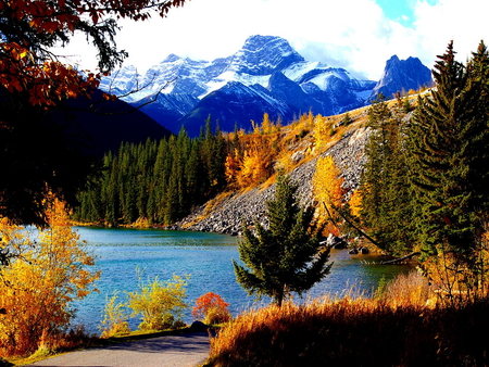 autumn mountains backgrounds. Simple Autumn Fall In The Foothills Of Snowy Mountain On Autumn Mountains Backgrounds L
