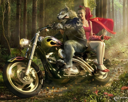 red riding hood on ride with wolf - red, forest, red-riding-hood, ride, werewolf, wolf, bike, red riding hood