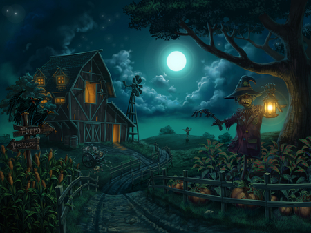 Farm - windmill, halloween, corn, digital painting, farm, pumpkins, scarecrows, moon, scarecrow, night, lamp, cloud, blue, drawings, houses, pumpkin, field, holidays