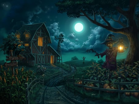 Farm - windmill, holidays, halloween, farm, moon, pumpkin, drawings, blue, night, corn, lamp, cloud, houses, digital painting, scarecrow, scarecrows, pumpkins, field