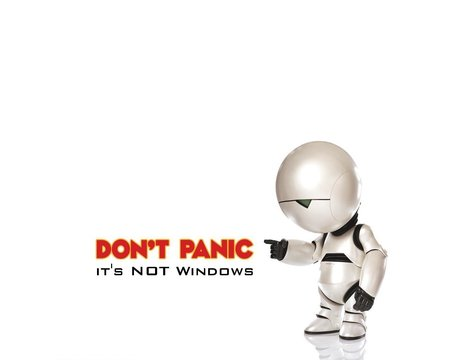 dont panic - linux, white, dont panic