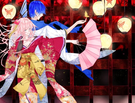 Luka and Kaito - red, vocaloid, lamps, beautiful, kimono, kaito, butterfly, blue hair, flower, fan, luka megurine, pink hair