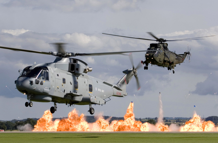 Wall of Fire - fire, merlin, rn, helicopter, of, military, wall, display