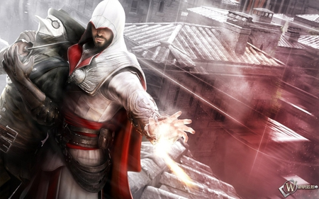 assassin's creed brotherhood - gun, assassinate, assassins creed, view, assassins creed brotherhood, ezio, assassin
