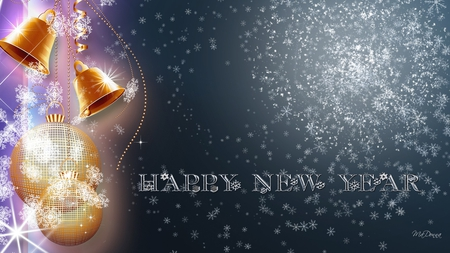 New Years - shiny, celebrate, snow, christmas, blue, balls, decorations, shine, bells, happy new year