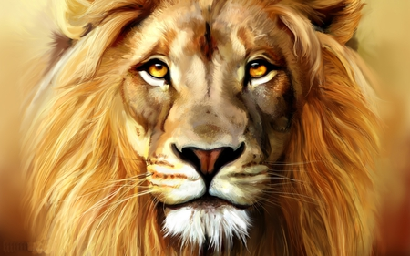 Beautiful Lion - fantasy, painting, cat, abstract, lion