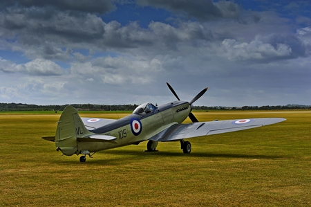 Hawker Seafire - brittish, sky, fighter, hawker, ww2, english, field, plane, wwii, airplane, british, seafire