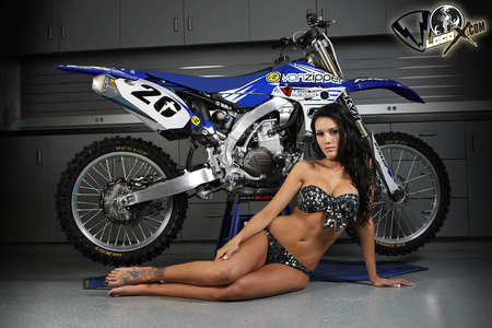 Caitlin and Yamaha - brown, beautiful, woman, motorcycle, hair, hot, bike, face, babe, motorcross, motor, motox, legs, yamaha, sexy, cycle, lips, bikini, brunette, girl, dirt, lady, eyes