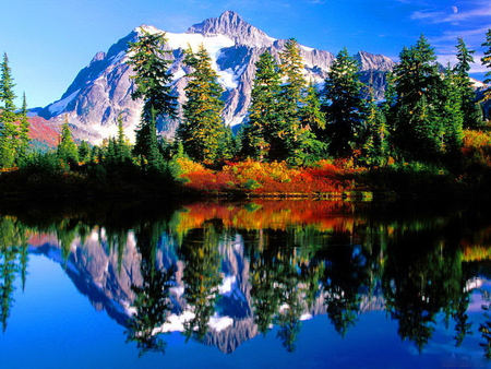 Snowy mountain reflection - autumn, trees, lake, mountain, water, nature, crystal, blue sky, reflection
