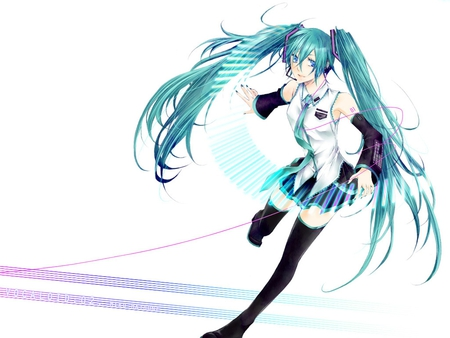 Hatsune Miku - pretty, cg, thigh highs, nice, anime, aqua, beauty, anime girl, vocaloids, art, twintail, skirt, black, miku, singer, aqua eyes, cute, headset, hatsune, cool, digital, awesome, white, idol, artistic, hatsune miku, headphones, tie, beautiful, thighhighs, program, twin tail, pink, blue, vocaloid, outfit, music, diva, microphone, leggings, song, girl, stockings, uniform, virtual, aqua hair