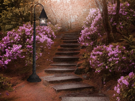 Somewhere In The Forest.. - pretty, staircase, painting, flowers, somewhere, garden, nature, forests