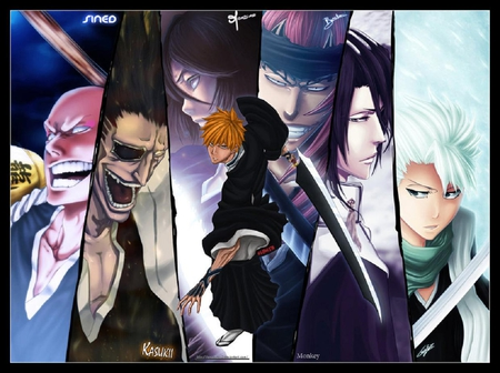 Soul Reapers - white hair, abarai renji, renji abarai, ichigo kurosaki, soul reapers, anime, ikkaku madarame, zaraki kenpachi, kuchiki rukia, ikkaku, toushiro, weapons, toushirou hitsugaya, headband, hitsugaya toushirou, kuchiki byakuya, kenpachi zaraki, bald, eye patch, rukia kuchiki, rukia, black hair, bleach, swords, madarame, kenpachi, ichigo, red hair, byakuya, renji, shinigami, byakuya kuchiki, kurosaki ichigo