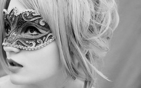 MASQUERADE - masquerade, carnival, photography, bw, beauty, mysterious, woman
