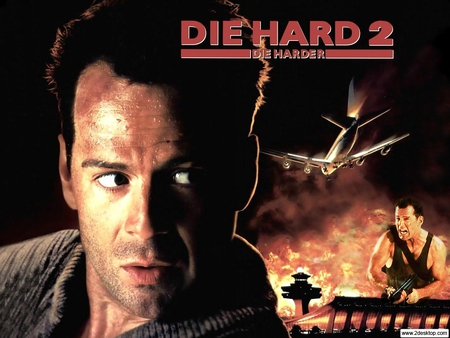 die hard 2 - fire, plane, explosion, airport, bruce willis, machine gun