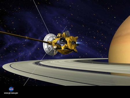 voyager probe - gas cloud, stars, probe, saturn