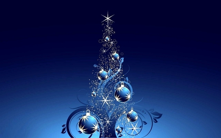BLUE CHRISTMAS TREE - Other & Abstract Background