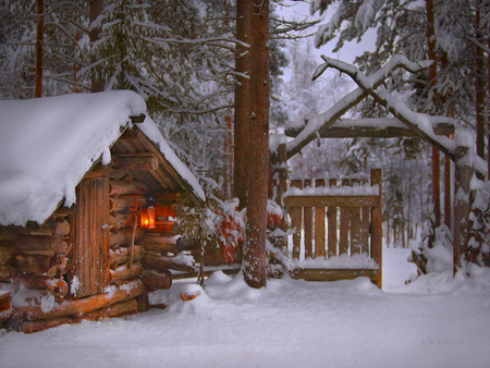 Small winter house - evening, small, snow, winter, light, house, yard