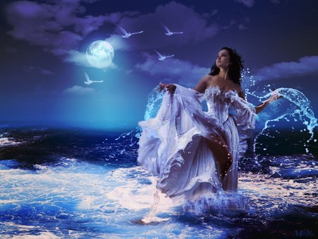 Dreaming - fantasy, moon, girl, dream, sea, night