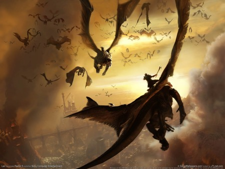 Lair Flying Dragon - fantasy, abstract, dragons, sky