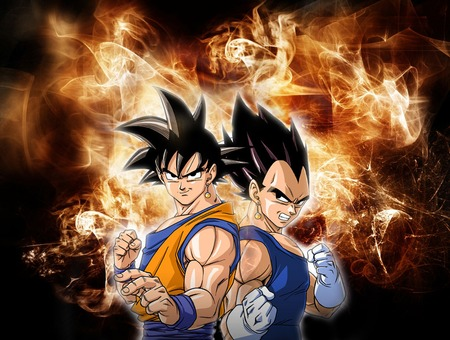 Goku And Vegeta With Awesome Background - goku, gohan, finalflash, goku background, trunks, gallick gun, vegeta finalshiine, dragonball kai, spiritbomb, dragonball, frieza, goku vs vegeta, bigbang, vegeta background, majinvegeta, dragonballgt, dragonballz, vegeta attacks, vegeta, goku and vegeta, kamehameha, goten, goku cool background