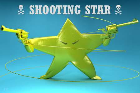 Shooting Star - Literally - gun, blue, abstract, funny, star, 3d, shooting star, cute, danger, green, evil