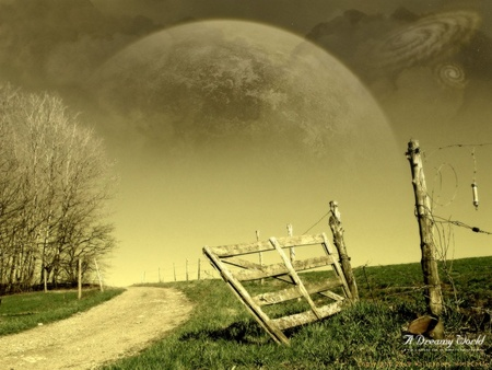 A Dreamy World - fence, moon, post, re-touched, feild, trees, clouds