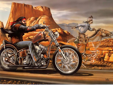 Ghost Rider - rocket, moped, dirt bike, wild, cowhand, ghost rider, chopper, rider, solitary, motorcycle, harley, horse, road, enduro, vaquero, scooter, free, desert, bike, wrangler, cowboy, ghost, david mann, biker