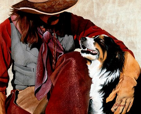 Me And My Buddy - buddy, painting, cowboy, dog, friends