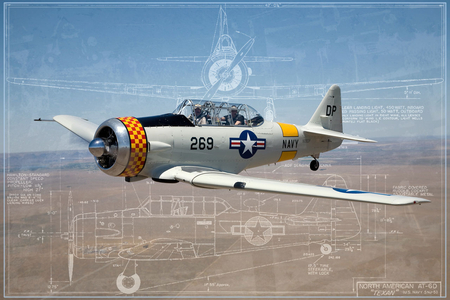 AT6 Blueprints - ww2, trainer, texan, wwii, american, blue, plane, blueprints, t-6, at6, airplane, t6, prints, at-6, north