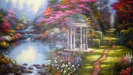Paradise Landscape - pink, rocks, flowers, gate, grass, green, red, beautiful, trees, painting, pond
