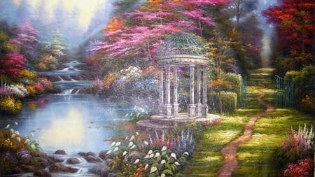 Paradise Landscape - flowers, grass, painting, pink, trees, red, beautiful, pond, gate, green, rocks