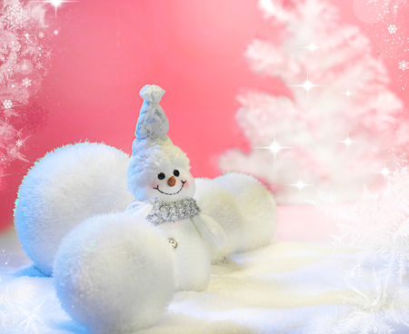 Cute Snowman - beauty, lovely, sweet, snow, christmas, balls, magic, adorable, white, snowman, pretty, christmas balls, new year, beautiful, cute, merry christmas, pink, holiday, winter, smile, ball, magic christmas, colors, photography, snowmen, xmas, happy new year