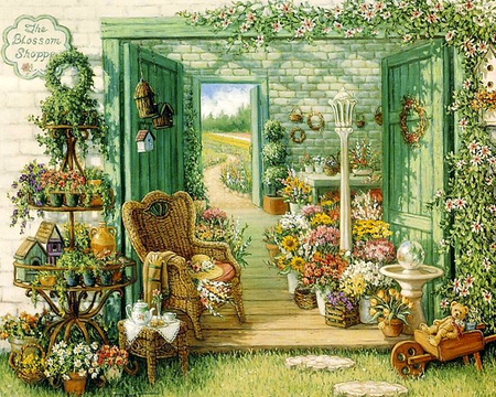 The blossom shop - shop, teddy, bear, tea, picture, door, blossom, fields, way, chair, paint, spring, plants, birdhouse, flower, garden, nature