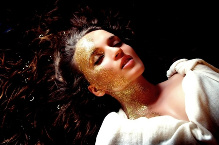 Gold Face - brunette, gold, female, model, fave, woman