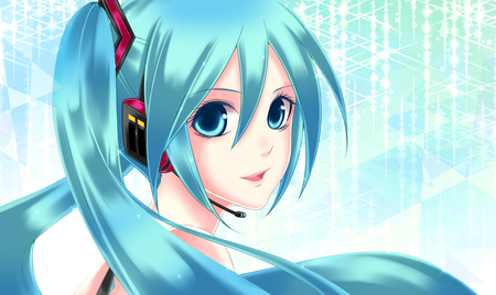 Hatsune Miku - pretty, cg, nice, anime, aqua, beauty, anime girl, vocaloids, art, twintail, black, miku, singer, aqua eyes, cute, headset, hatsune, cool, digital, awesome, bare shoulders, white, idol, artistic, glow, hatsune miku, headphones, beautiful, program, twin tail, pink, light, blue, vocaloid, music, diva, microphone, song, girl, virtual, aqua hair