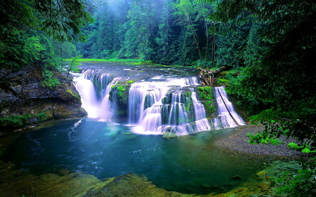 Lower Lewis River Waterfall - forest, rocks, washington, lewis, beautiful, lower, water, waterfall, nature, river, landscape