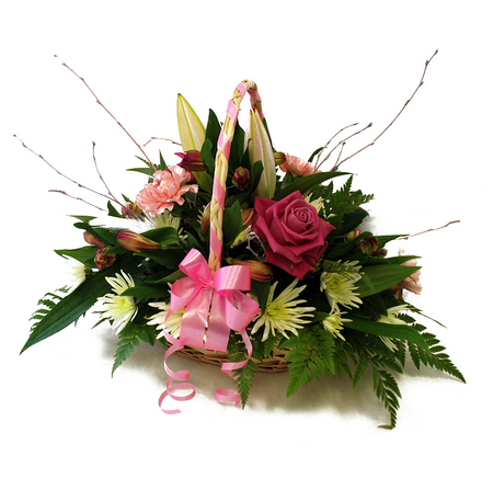 A Basket Full Of Flowers - beauty, flowers, basket, ribbon