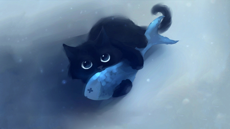 My fish!!! - water, fish, anime, cat, blue