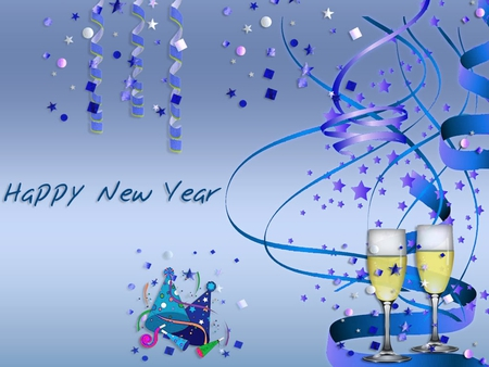 New year - new year, holiday, wine, blue