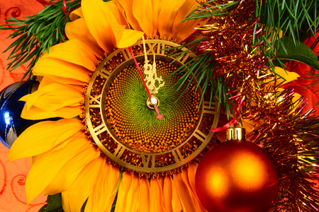 Happy New Year!!! - beauty, lovely, yellow, cool, great, gold, balls, midnight, switches, decoration, pretty, golden, new year, beautiful, photo, clock, amazing, holiday, nice, sunflower, ball, colors, photography, happy new year