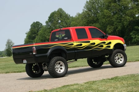 03 F-350 Super Duty - lifted, yellow flames, truck, ford