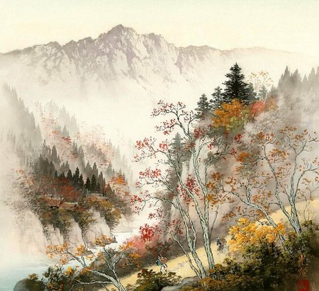 Koukei Kojima. Secluded corner of the world - painting, art, path, koukei kojima, nature, mountain