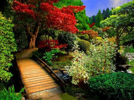 small wooden bridges for gardens