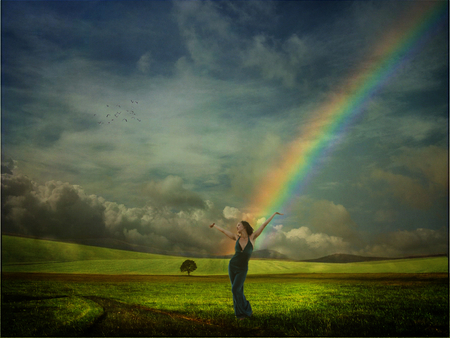 Dancing Under the Rainbow - rainbow, woman, magical, dancing, landscape
