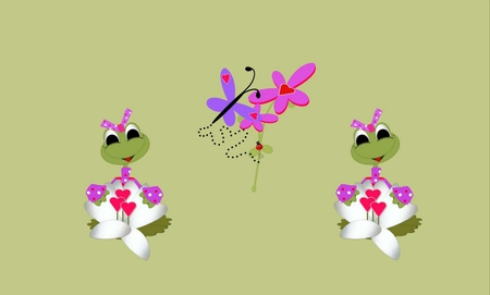 VALENTINE FROGS - cute, frogs, valentine, girl