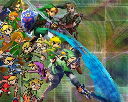 The legend of Links - toon link, red, majoras mask, windwaker, link, oracle of seasons, video games, young link, minish cap, green, twilight princess, ocarina of time, sword, fairy, blue, ezlo, sheild, boomerang, oracle of ages, slingshot, four swords, zelda, skyward sword, vio, spirit tracks